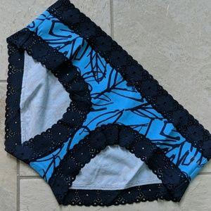 Aerie Real Soft Jazz Blue Lace Trim Boybrief Undie